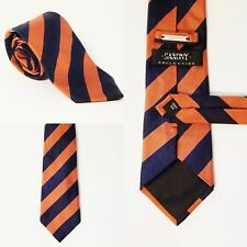 "Saxony Collection Tie Navy Blue Orange Mens Necktie 58 1/2""X 3 1/2"""
