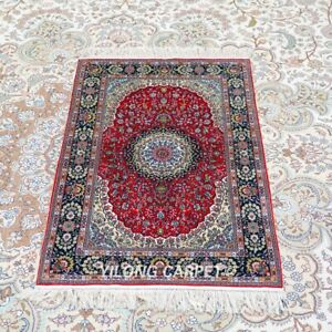 YILONG 2'x3' Handknotted Silk Rug Home Decor Antistatic Red Carpet TJ192H