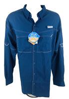 Columbia Men's PFG Omni Shade UPF 40 L/S Button Navy Vented Fishing Shirt Sz XL