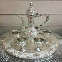 VINTAGE ARABIC COFFEE METAL TEAPOT CUP SET METAL GLASS HOME DECOR ORNAMENTS _UK