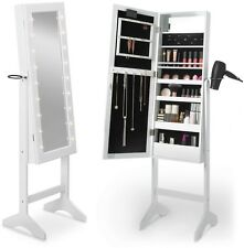 Free Standing Cheval Mirror Cabinet White LED Lights Jewellery Make Up Storage
