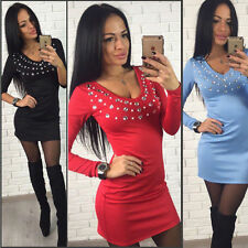 Ladies Women Long Sleeve Casual Bodycon Evening Party Cocktail Short Mini Dress