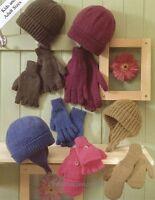 (504) DK Knitting Pattern Easy to Knit Lady Man Boy Girl Hat Helmet Mitts Gloves