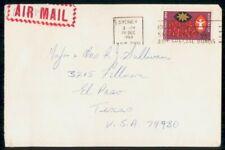 New ListingAustralia 1969 Sydney to Texas El Paso Airmail cover wwi 3205