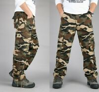 Mens Cotton Camo Military Long Pants Baggy Outdoor Casual Overalls Army Trousers
