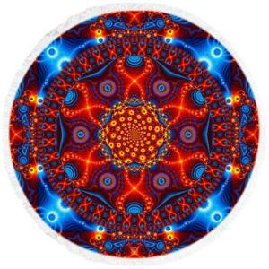 Psychedelic Beach Towel | Round Beach Blanket | Cactivated DNA