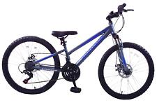 "Ammaco Seattle 24"" Wheel Front Suspension Kids Mountain Bike 21 Speed Blue/Grey"