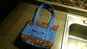 Vera Bradley Retired Rare French Blue Handbag Purse Bag Vintage Blue Red Floral