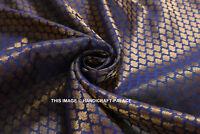 Por YD Oro Azul Imitación Seda Brocado Confección / Craft Tela Pequeño Paisley
