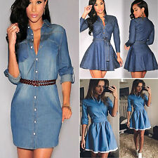 Women Denim Jean T-shirts Long Sleeve Jumper Tops Cocktail Clubwear Short Dress