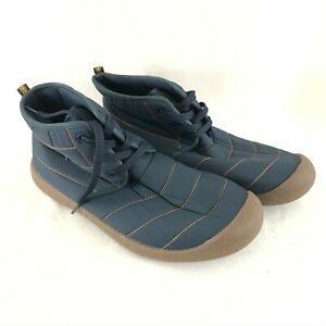 Mens Quilted Boots Lace Up Puffer Warm Winter Navy Blue Size 9.5