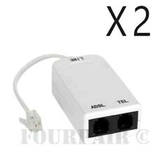 2 Pack - ADSL ADSL2+ DSL Modem Telephone Phone Fax In-Line Splitter Filter RJ11