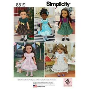 Simplicity Sewing Pattern 8819 14' Doll Clothes Dress Party Christmas One Size
