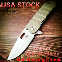 D2 Blade Ball Bearing Knives Tactical Folding Knife G10 Handle Camping Survival