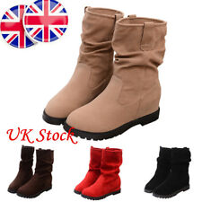 UK Winter Womens Solid Casual Suede Mid-Calf Slouch Boots Wedge Platform Shoes