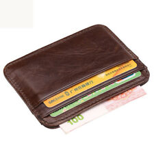 Mens Genuine Leather Brown Wallet Slim Money Clip Credit Card Holder ID Business