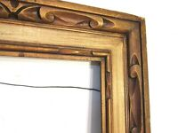 VINTAGE HAND CARVED GILDED WOOD FRAME FOR PAINTING 18 X 14 INCH