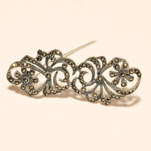 Real Marcasite Filigree Flower Pin Brooch 925 Sterling Silver Women Fine Jewelry