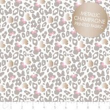 Disney Minnie Leopard Print Grey Metallic Camelot 100% cotton fabric by the yard
