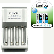 Fujicell Smart Fast AA/AAA Battery Charger + 4 AAA 700mAh Rechargeable Batteries