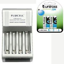 Fujicell SMART Fast AA / AAA Batteria Caricabatterie + 4 AAA 700mAh BATTERIE RICARICABILI
