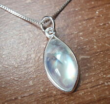 Small Moonstone Marquise 925 Sterling Silver Pendant Corona Sun Jewelry