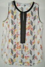 Cabi Size Large Unique and Pretty Lightweight Split Round Neck Sleeveless Top