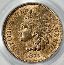 PCGS MS64 RB 1874 INDIAN HEAD CENT