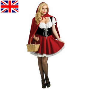 Ladies Little Red Riding Hood Costume Adult Fairytale Fancy Dress Womens Outfit