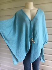 SOFT SURROUNDINGS Desert Breeze Top Lagenlook Asym Gauze Boho Kimono Wrap Tunic