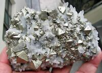 PYRITE OCTAHEDRAL CRYSTALS in COMBINATION with QUARTZS on MATRIX from PERU...