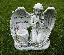 Engel mit LED-Kerze Grabschmuck Grabdeko *Ein Engel schütze Dich* antik 17x14 cm
