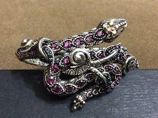 NEW Barbara Bixby Sterling & 18K Gemstone Wrap Snake Bangle RSVP $629 Average 7