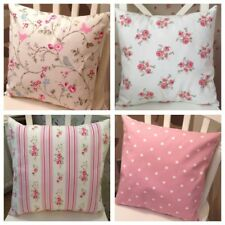 "4 Clarke and Clarke Bird Trail Pink Spot Fifi Floral Stripe 16"" Cushion Covers"
