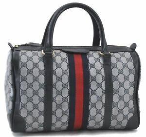 Authentic GUCCI Sherry Line Hand Boston Bag GG PVC Leather Navy Blue C5065