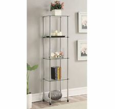 Display Tower Storage 5 Shelves Tall Stainless Steel Glass Decor Accent Modern