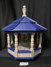 Large Spindle Poly Bird Feeder Amish Handcrafted Handmade Clay Blue Roof