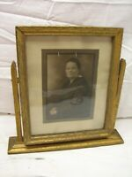 Ornate Wooden Picture Frame w/Stand Photo Family Portrait Gold Tone Wood