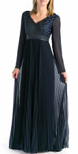 NWT Sue Wong Navy Soutache Embroidery Dress gown long sleeves blue size 2 - $785