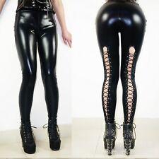 Latex Look Sexy Black Leggings Lace Up Backs Silver Eyelets Elasticated Waist