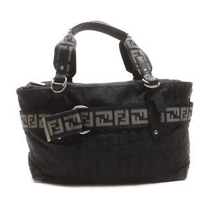 Fendi Tote Bag Zucca Black Zukka Nyron 2201538