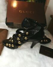 Womens Authentic Ankle Peep Toe Gucci Heels Black  And Gold Size 6