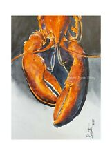 Lobster Seafood fish Original watercolor painting signed by Artist