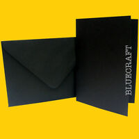 50 x A5 Cool Black Wedding Card Blanks + C5 Envelopes