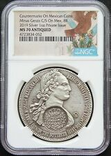 Mexico 2019 8 Reales .999 Silver Medal, Minas Gerais Counterstamp NGC MS70