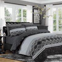 Reversible 4Pcs Duvet Set with Fitted Sheet Pillow Case 100% Cotton Grey - 901