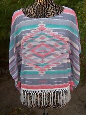 Southwestern Mexican Blanket Serape Saltillo Fringe Poncho Tunic~M~EUC