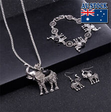 Retro Cut Black Turquoise Elephant Pendant Necklace Earrings Bracelet Set