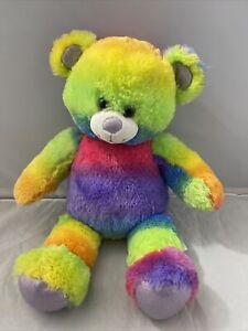 Build a Bear Rainbow Glitter Teddy 16in. Stuffed Plush Toy Animal Retired 2014