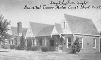 Clayton MO~Tower Motor Court Motel on Ballas~1947 Ruil Family Vacation~Postcard